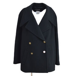 98a 42 Cc Double Breasted Long Sleeve Coat Jacket Black Auth 05114