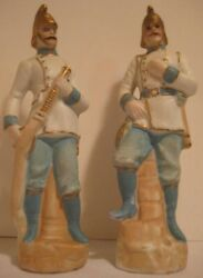 Old Pr German Antique Fire Fighters - Bisque Fireman W/ Helmets - Signed Statues
