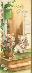 VINTAGE WHITE YORKSHIRE TERRIER PUPPY GOD HOUSE DOOR MAIL PRESENTS GREETING CARD
