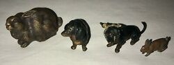 3 Bronze Miniature Animals And A Painted Metal Rabbit
