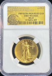 2009 Ultra High Relief 20 Dollar Gold Coin Early Releases Ngc Ms 69