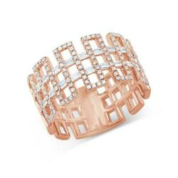 Baguette Diamond Wide Ring Cocktail Greek Key Cocktail Band Statement Right Hand