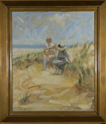 Signed And Framed Mid 20th Century Oil - In The Sand Dunes