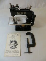 Vintage Singer Sew Handy Model 20 Sewing Machine With Box, Clamp, Instructions