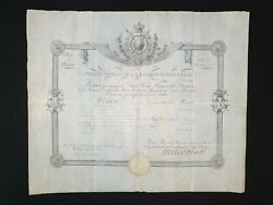 1814 Royalty King France Louis Xviii Signed Document Manuscript Letter Military