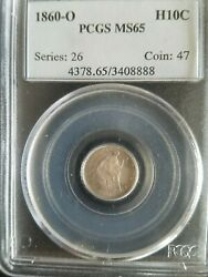 1860-0 Liberty Seated Half Dime Pcgs Ms65 Gem Uncirculated