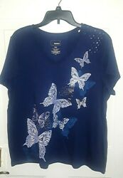 NWT Sonoma Women's' Navy T Shirt with Butterfly Design Plus Size XXL Brand New $8.00