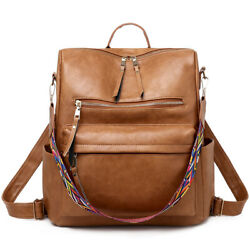 Leather Fashion Backpack Purse Casual Large Capacity Travel Multipurpose Bags $25.99