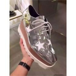 Brand New Authentic Stella Mccartney Silver Elyse Star Shoes Size 36.5 Us 6.5
