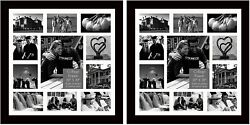 Studio 500value 2 Pack 20x20 Real Wood Picture Collage Frames Mats Black/white