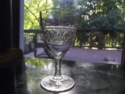 1 Water Goblet Wine Glass Eapg George Duncan And Sons 14 Paneled Diamond Band