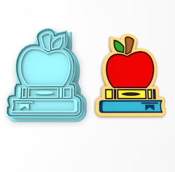 Books And Apple School Cookie Cutter And Stamp | Back To School Education Teacher