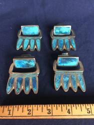 Four Pepe Mendoza Swing Drawer Pulls Ca 1958 Brass With Blue Stone Inlay Mexico
