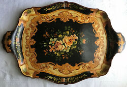 Antique Handled Black Lacquer Hand Painted Rose Floral Serving Vanity Tea Tray