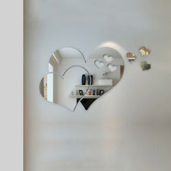 3D Mirror Love Hearts Wall Sticker Removable Decal DIY Home Room Mural Decor