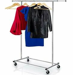 Clothes Rack Heavy Duty Commercial Grade Chrome Rail For Clothing,...