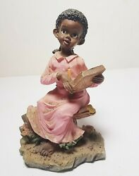 African Americana Black Figurine Statute Girl Kid Reading Book in Tree Vtg Decor