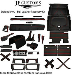 Red Stitch Leather Covers For Defender 90 83-06 Full Interior Upholstery Kit