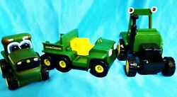 Lot Of 3 - John Deere Green Children's Tractor Farm Toys Ertl And Rc2