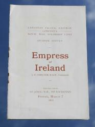 Canadian Pacific Line Rms Empress Of Ireland 2nd Cl Passenger List 07/03/13