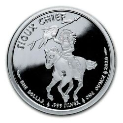 Sioux Nation 2020 1 Oz .999 Silver 1 Native War Chief Sitting Bull Crazy Horse