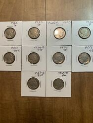 10 Different Buffalo Nickels 1923-1938d. Half Are Fine Or Better Nice Herd