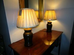 Pair Late 19c Antique Chinese Bronze Vase Lamps Dimmer Switch And Silk Shade C1900