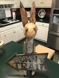 Large Primitive Style Tree Branch Bunny Rabbit Sculpture Figure And Sign 25 Tall