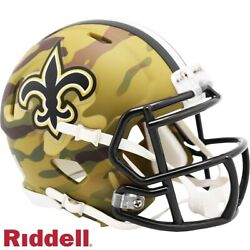 New Orleans Saints Camo Alt Riddell Speed Mini Helmet - New In Riddell Box