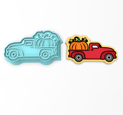 Vintage Truck With Pumpkin Cookie Cutter And Stamp | Fall Harvest Autumn Pumpkins