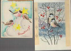 Christmas Greeting Birds Stars And Berries 6x8 Greeting Card Art 54 102 Lot Of 2
