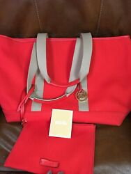Michael Kors Large Red Tote Canvas With Clutch $60.00