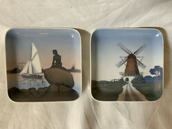 Two Vtg B And G Bing And Grondahl Denmark Square Plate Trinket Tray 5x5