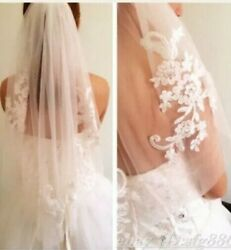 White Wedding Veil Lace Appliques Rhinestone Accents Elbow Length with Comb