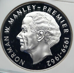 1972 Jamaica Proof Huge 4.5cm Premier Norman W Manley Silver 5 Coin Ngc I85807