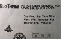 Duo-therm Lp Gas Heater Furnace 66100 Ser Rv Marine Camping Owner And Parts Manual