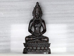 Chinese Antique Collection Carved Rosewood Statue Buddha Figure Qing Dynasty
