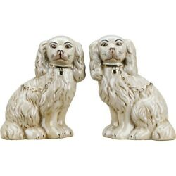 Staffordshire Dog Pair In Antique Cream With Gold Chain Accent Figurines 9 Inch