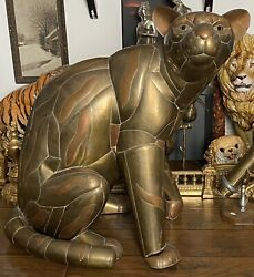 """Vintage Sergio Bustamante Style Panther Copper And Brass Sculpture 33x31x23"""""""
