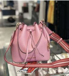 MICHAEL KORS EDEN MEDIUM BUCKET LEATHER SHOULDER SHOULDER BAG PINK CARNATION $109.88
