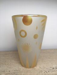 Correia Studio Gold Gilded Frosted Etched Art Glass Vase Signed Sun Stars Flame
