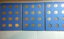 31 Washington Silver Quarters In Folder. Various Common Years Mints In Good