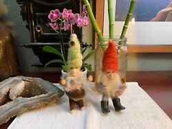 Antique Gnomes Set Of 2 Rare Handmade Netherlands Wool Resin Shoes Vintage Wow