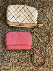 Two Used Coach Wristlets Pink And White $18.00