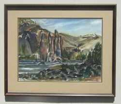 Smith Rock State Park Watercolor Painting Margaret V Stewart 17.5 X 23 Oregon
