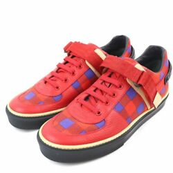 Pre-owned Authentic Louis Vuitton Menand039s Sneakers Canvas X Leather 5 Red X Blue