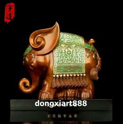 26 Cm Famous China Artist Pure Bronze Abstract Elephant Household Art Statue