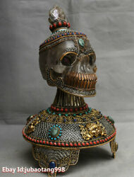 14 Old Tibet Wire Inlay Silver Gilt Gem Crystal Carved Skull Buddha Head Statue