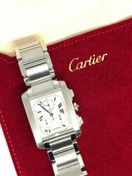 Pre-owned Quartz Tank Francaise Stainless Steel Watch