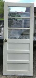 Wood Panel Door 3 Glass Pane 32x76 Vintage Wooden Solid Local Pickup Only